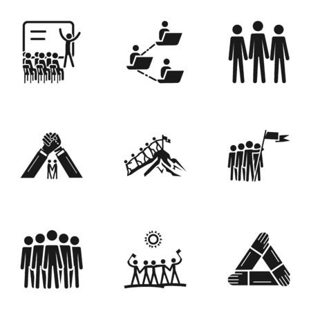 Teamwork meeting icon set. Simple set of 9 teamwork meeting icons for web design isolated on white background Stockfoto