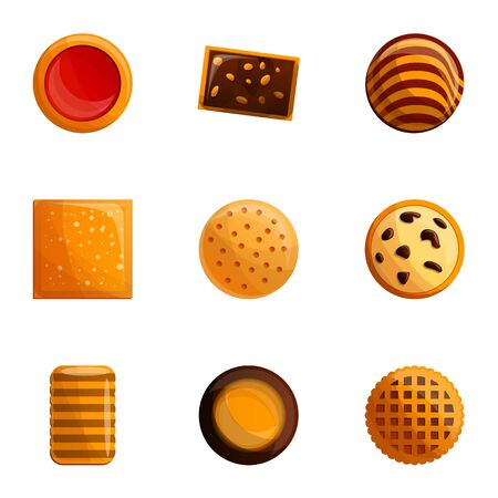 Sweet biscuit icon set. Cartoon set of 9 sweet biscuit icons for web design isolated on white background