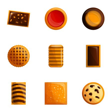 Tasty cookie icon set. Cartoon set of 9 tasty cookie icons for web design isolated on white background