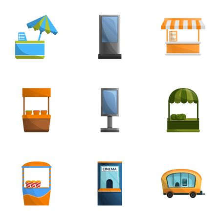 Street store icon set. Cartoon set of 9 street store icons for web design isolated on white background