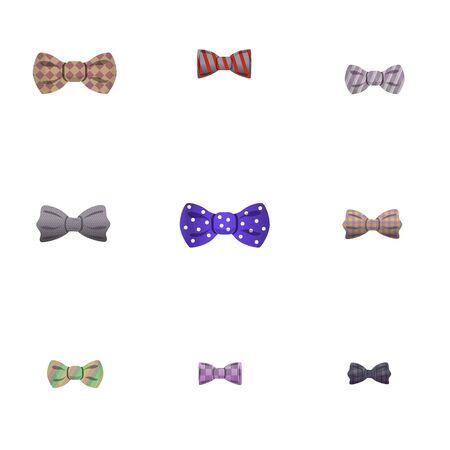 Textile bow tie icon set. Cartoon set of 9 textile bow tie icons for web design isolated on white background