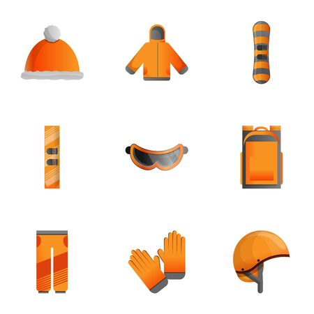 Winter sports equipment icon set. Cartoon set of 9 winter sports equipment icons for web design isolated on white background Reklamní fotografie - 133141633