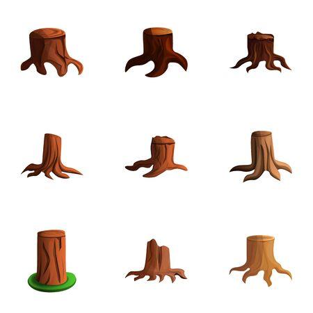 Old tree stump icon set. Cartoon set of 9 old tree stump icons for web design isolated on white background