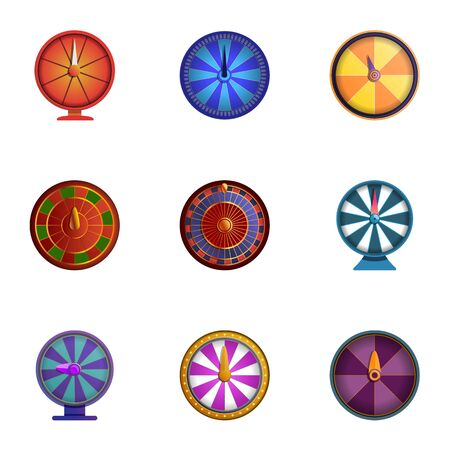 Spin lucky wheel icon set. Cartoon set of 9 spin lucky wheel icons for web design isolated on white background