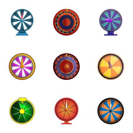 Spin fortune wheel icon set. Cartoon set of 9 spin fortune wheel icons for web design isolated on white background Reklamní fotografie