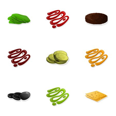 Burger sauce icon set. Cartoon set of 9 burger sauce icons for web design isolated on white background