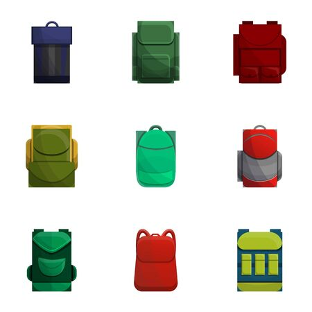 School backpack icon set. Cartoon set of 9 school backpack icons for web design isolated on white background