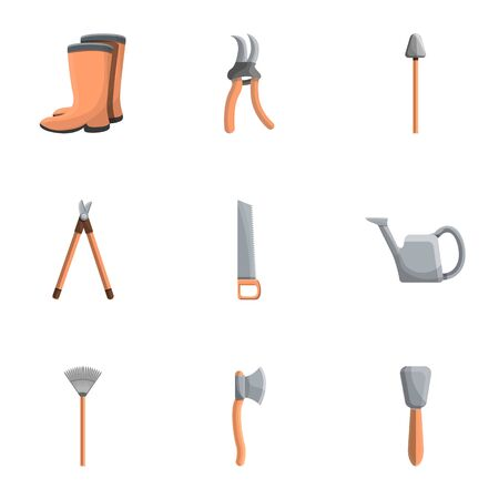 Farm tools icon set. Cartoon set of 9 farm tools icons for web design isolated on white background