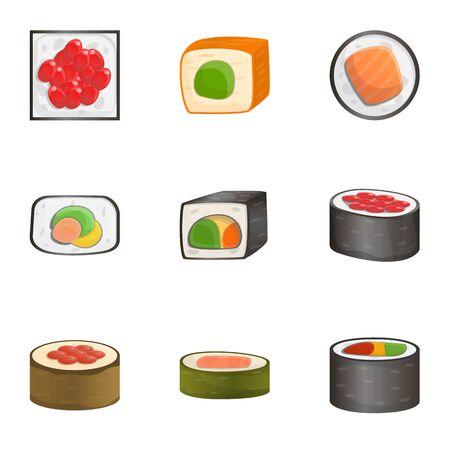 Fresh sushi roll icon set. Cartoon set of 9 fresh sushi roll icons for web design isolated on white background