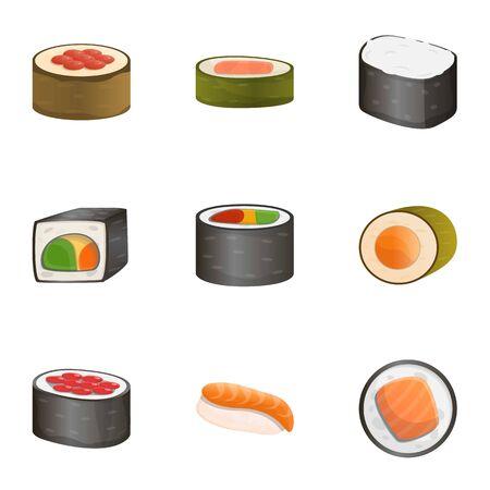 Raw sushi roll icon set. Cartoon set of 9 raw sushi roll icons for web design isolated on white background
