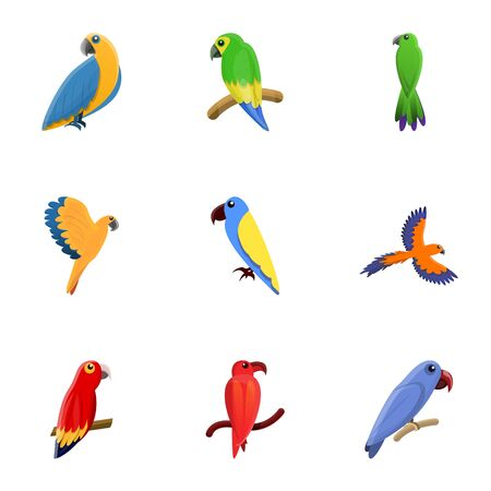 Jungle parrot icon set. Cartoon set of 9 jungle parrot icons for web design isolated on white background Stockfoto