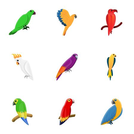 Exotic parrot icon set. Cartoon set of 9 exotic parrot icons for web design isolated on white background