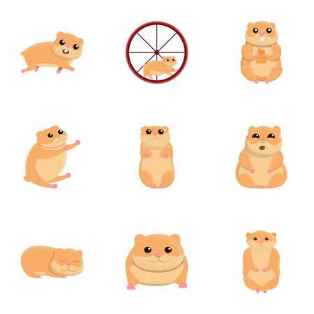 Hamster character icon set. Cartoon set of 9 hamster character icons for web design isolated on white background