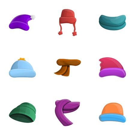Warm winter headwear icon set. Cartoon set of 9 warm winter headwear icons for web design isolated on white background
