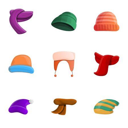 Cotton winter headwear icon set. Cartoon set of 9 cotton winter headwear icons for web design isolated on white background
