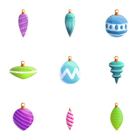 Christmas toys icon set. Cartoon set of 9 christmas toys icons for web design isolated on white background Imagens