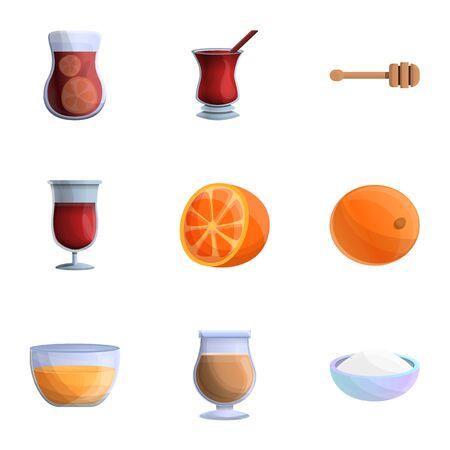 Hot mulled wine icon set. Cartoon set of 9 hot mulled wine icons for web design isolated on white background