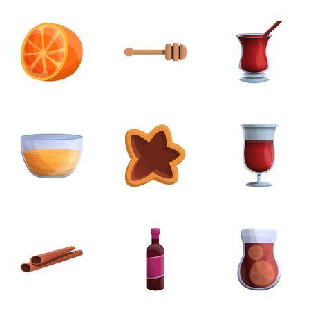 Holiday mulled wine icon set. Cartoon set of 9 holiday mulled wine icons for web design isolated on white background