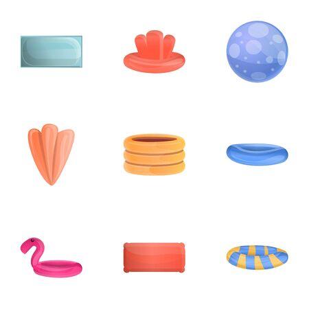 Swim equipment icon set. Cartoon set of 9 swim equipment icons for web design isolated on white background