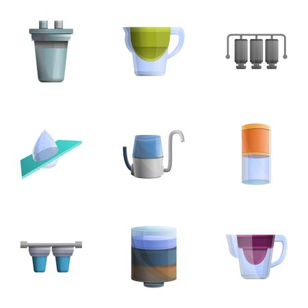 Home water filtration icon set. Cartoon set of 9 home water filtration icons for web design isolated on white background 스톡 콘텐츠