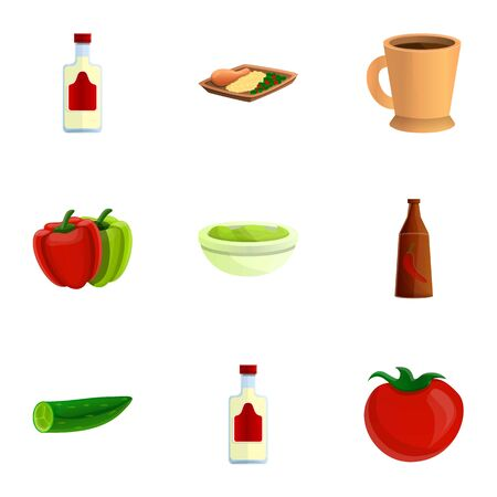 Mexican traditional food icon set. Cartoon set of 9 mexican traditional food icons for web design isolated on white background Banco de Imagens