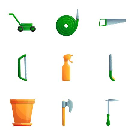 House gardening tools icon set. Cartoon set of 9 house gardening tools icons for web design isolated on white background