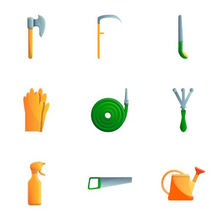 Work garden tools icon set. Cartoon set of 9 work garden tools icons for web design isolated on white background Imagens