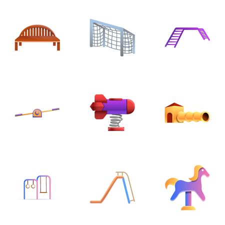Kid amusement area icon set. Cartoon set of 9 kid amusement area icons for web design isolated on white background