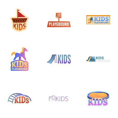 Kids city playground icon set. Cartoon set of 9 kids city playground icon for web design isolated on white background Banque d'images - 133141840