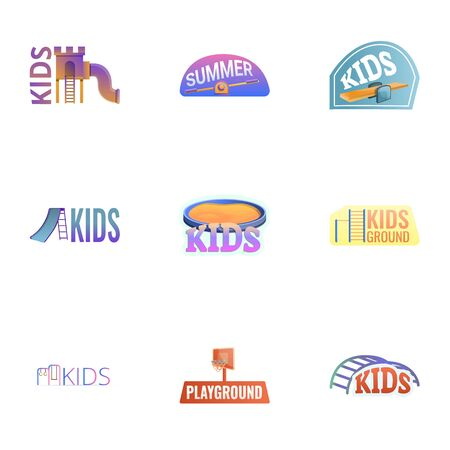 Amusement kids playground icon set. Cartoon set of 9 amusement kids playground icon for web design isolated on white background Banque d'images - 133141843