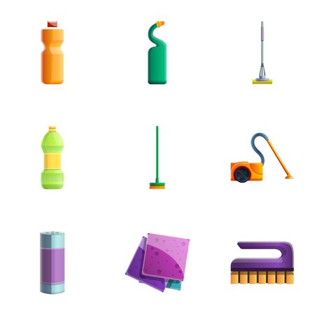 Home cleaner icon set. Cartoon set of 9 home cleaner icons for web design isolated on white background