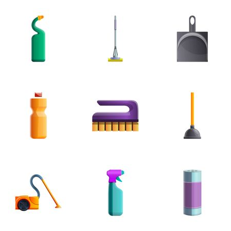 Home cleaning tools icon set. Cartoon set of 9 home cleaning tools icons for web design isolated on white background