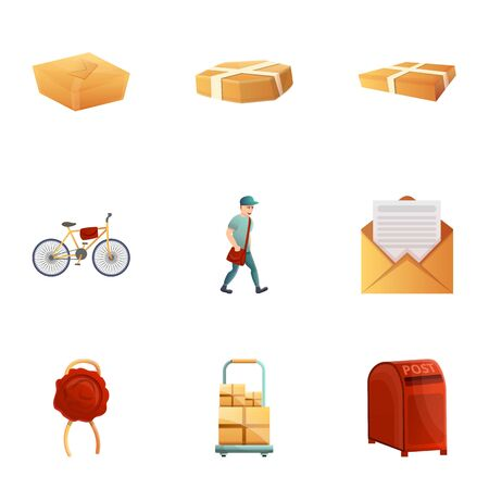 Postal service icon set. Cartoon set of 9 postal service icons for web design isolated on white background 스톡 콘텐츠