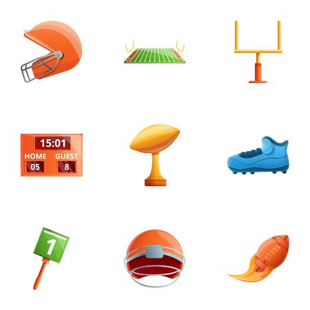 American football equipment icon set. Cartoon set of 9 american football equipment icons for web design isolated on white background