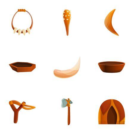 Stone age equipment icon set. Cartoon set of 9 stone age equipment icons for web design isolated on white background