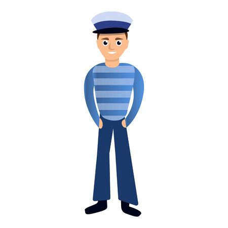 Young sailor boy icon. Cartoon of young sailor boy icon for web design isolated on white background