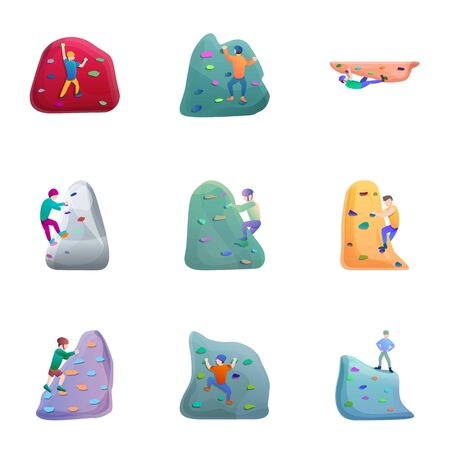 Wall climbing icon set. Cartoon set of 9 wall climbing icons for web design isolated on white background Stockfoto
