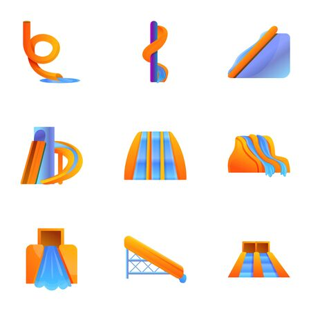 Aquapark slide icon set. Cartoon set of 9 aquapark slide icons for web design isolated on white background Фото со стока