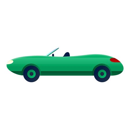 Green cabriolet icon. Cartoon of green cabriolet icon for web design isolated on white background