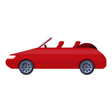 Red cabriolet icon. Cartoon of red cabriolet icon for web design isolated on white background