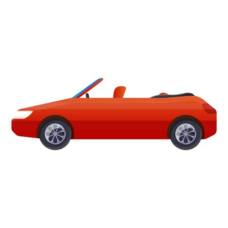 Red cabriolet car icon. Cartoon of red cabriolet car icon for web design isolated on white background 写真素材