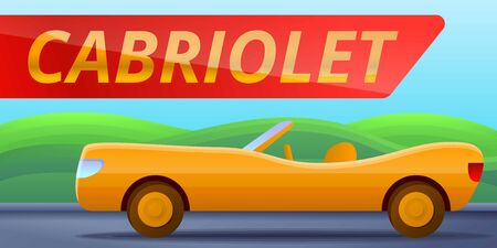 Retro cabriolet car concept banner. Cartoon illustration of retro cabriolet car concept banner for web design