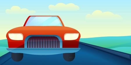 Cabriolet car on road concept banner. Cartoon illustration of cabriolet car on road concept banner for web design