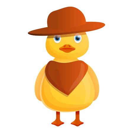 Yellow cowboy duck icon. Cartoon of yellow cowboy duck icon for web design isolated on white background 写真素材