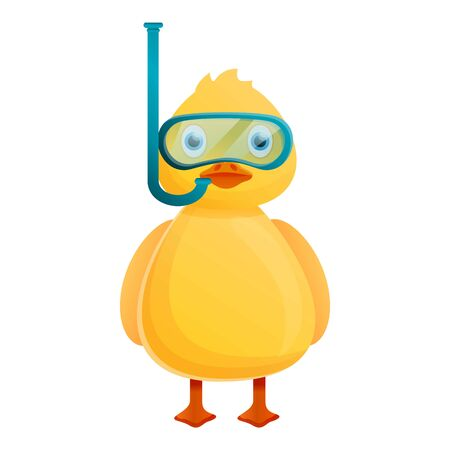Yellow duck diving mask icon. Cartoon of yellow duck diving mask icon for web design isolated on white background Reklamní fotografie