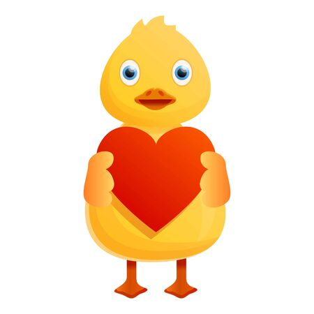 Yellow duck red heart icon. Cartoon of yellow duck red heart icon for web design isolated on white background