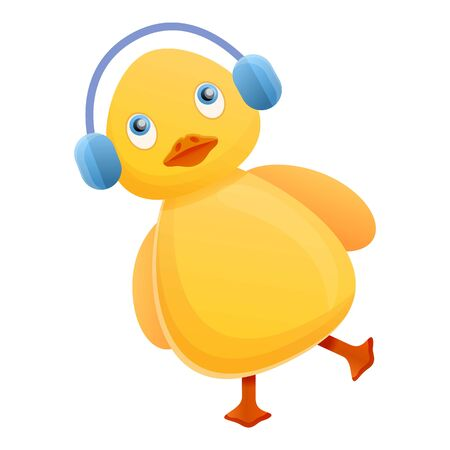 Yellow duck with headphones icon. Cartoon of yellow duck with headphones icon for web design isolated on white background Stock Photo