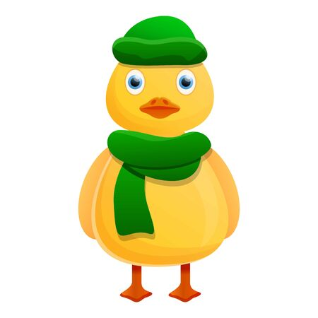 Yellow duck green winter clothes icon. Cartoon of yellow duck green winter clothes icon for web design isolated on white background Stock fotó