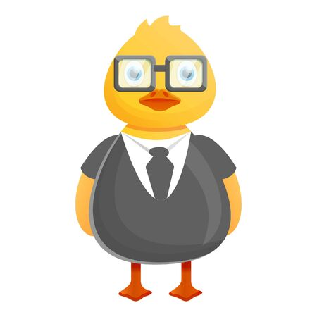 Yellow duck businessman icon. Cartoon of yellow duck businessman icon for web design isolated on white background