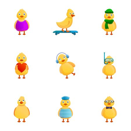 Cute duck icon set. Cartoon set of 9 cute duck icons for web design isolated on white background